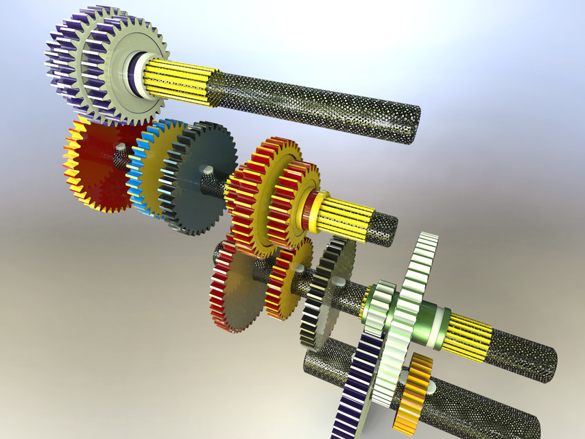 18 Speed GearBox of Lathe Machine | 3D CAD Model Library