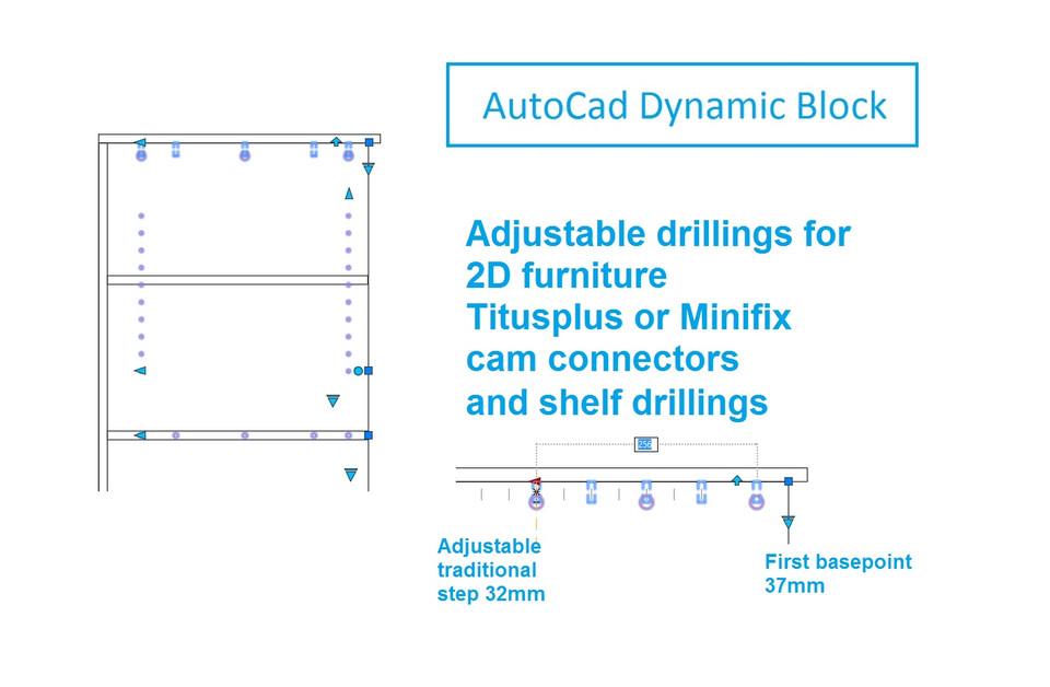 2d dynamic block drillings for furniture | 3D CAD Model