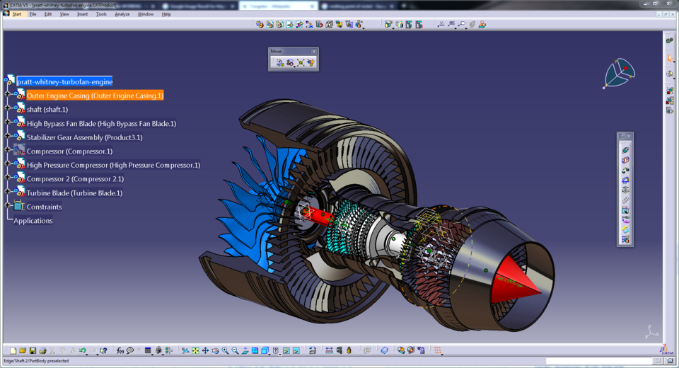 turbofan engine | 3D CAD Model Library | GrabCAD