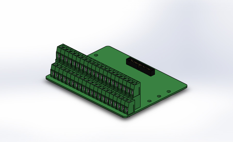 IDC40 to screw terminal block Pcb board | 3D CAD Model Library | GrabCAD