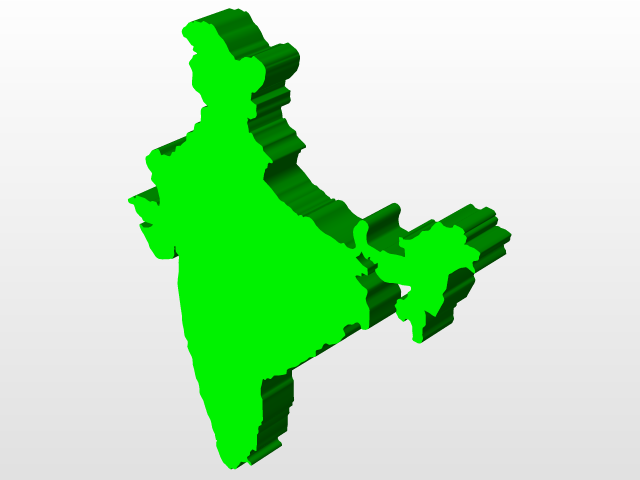 3d View Of India Map 3d Cad Model Library Grabcad