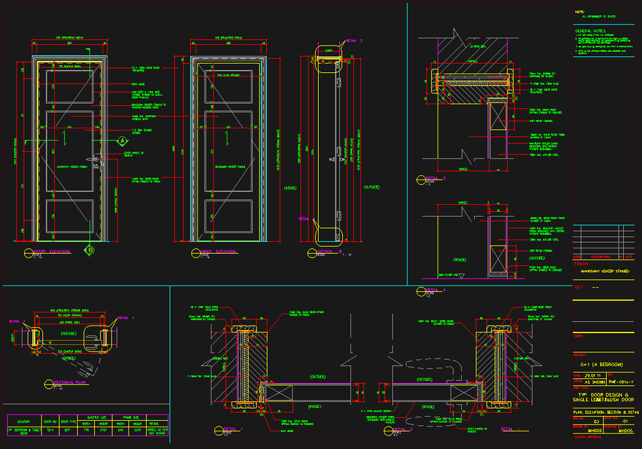 Sample Cad Work Semi Solid Flush Door 3d Cad Model
