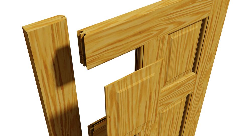 Solid Pine 6 Panel Interior Door 686 X 1981mm 3d Cad Model Library