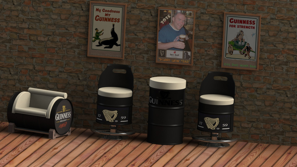 55 gallon oil drum bar table 3d cad model library grabcad. Black Bedroom Furniture Sets. Home Design Ideas