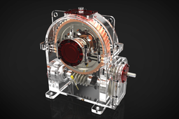 Spur-Worm gear speed reducer Render