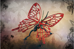 Butterfly, metal puzzle, bugs, 3d model, puzzle, sheet metal