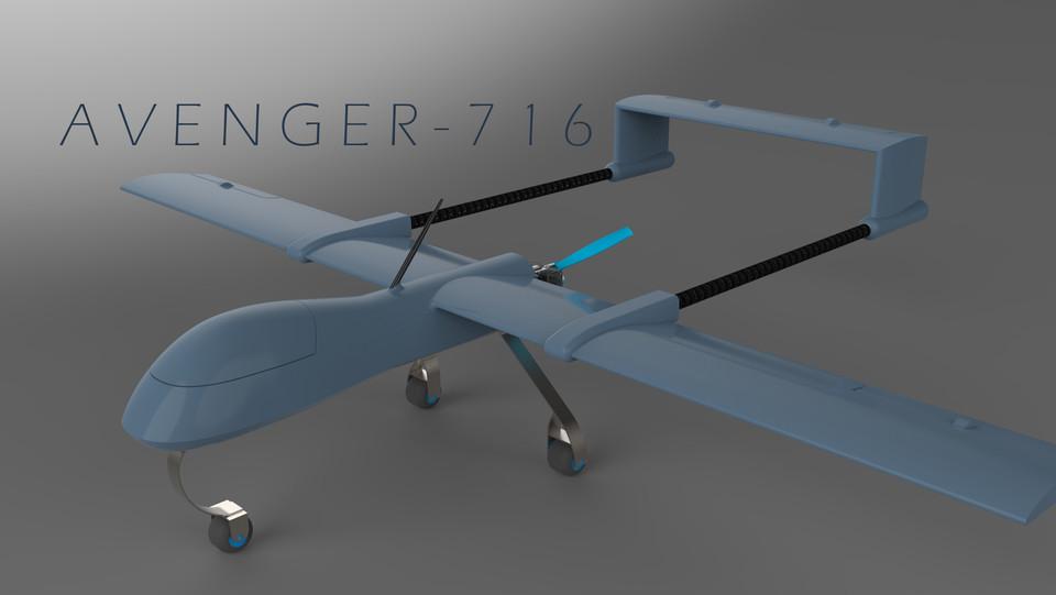 Avenger 716 Uav 3d Cad Model Library Grabcad