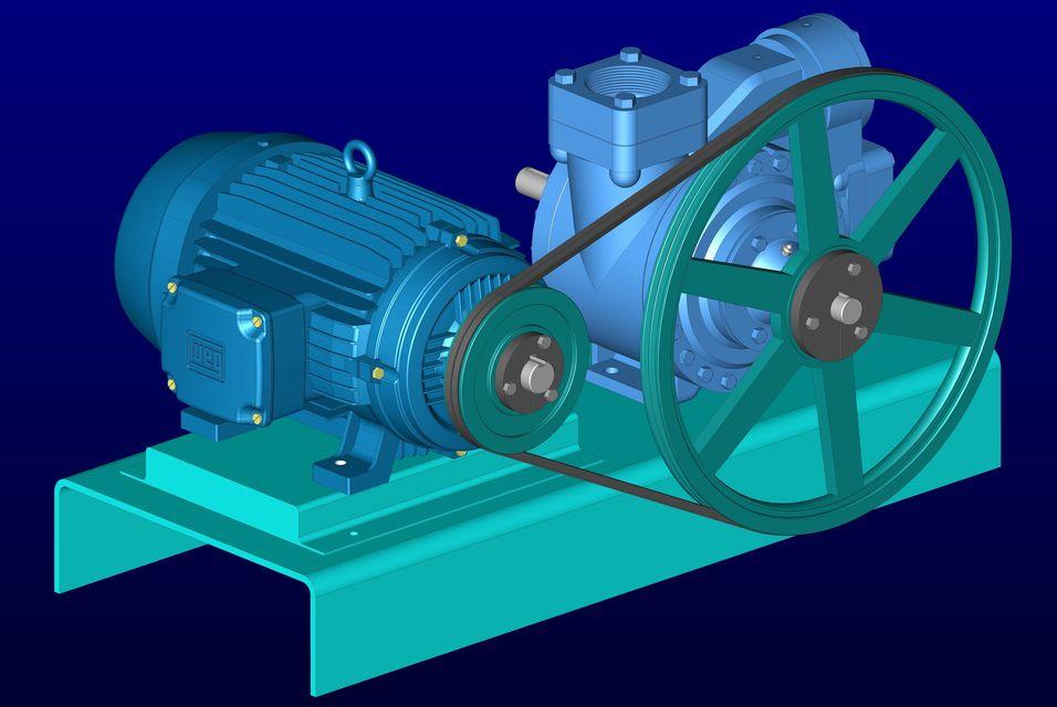 Blackmer 3 Inch Vane Pump Motor And Mount 3d Cad Model