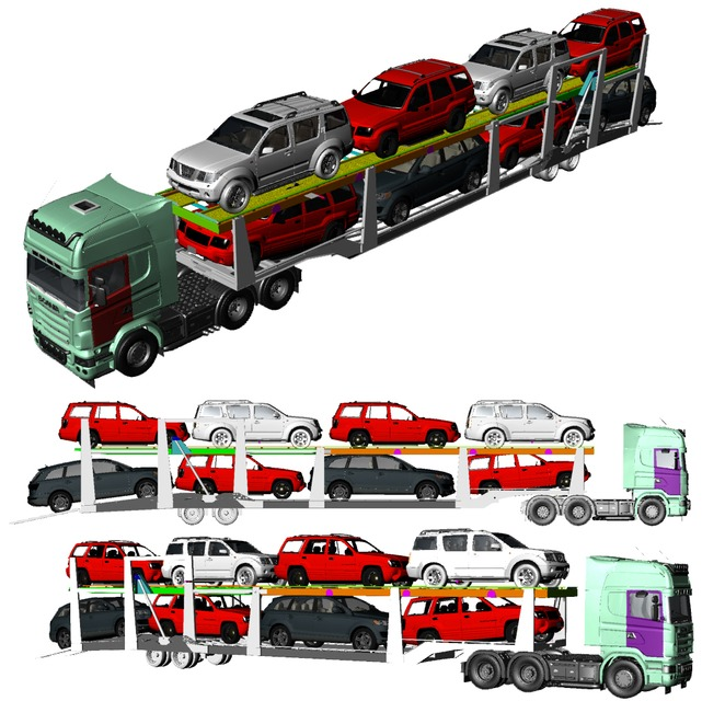 cars carrier semi trailer with head truck | 3D CAD Model