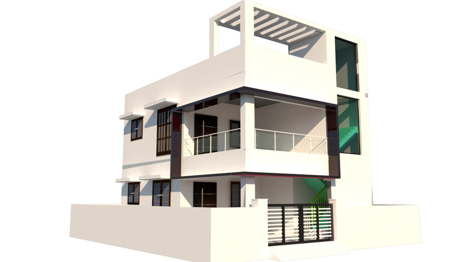 Front Elevation Residential Building Autocad : Residential building elevation d cad model library
