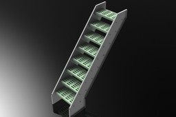 SHEETMETAL STAIR RISER, ANGLE BRACKET SUPPORT, CHEMGRATE TREAD