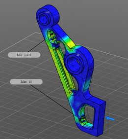 Autodesk Robot Gripper Arm Design Challenge Entry 6 25.35 Kg, Min. FOS= 3.42