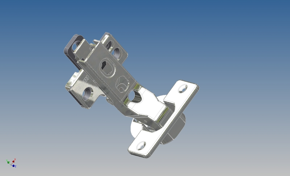 Fully concealed inset cabinet hinge autodesk inventor for Cuisine 3d solidworks