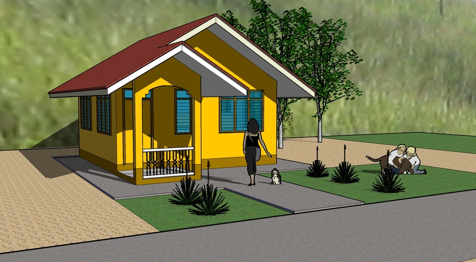 Low cost house sketchup 3d cad model grabcad for Big houses for low prices