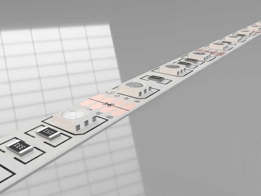RGB Strip 5050 60Leds/m 12V White PCB | 3D CAD Model Library | GrabCAD
