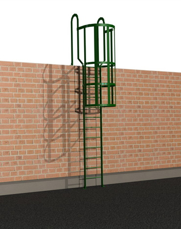 cat ladder with safety hoops autodesk inventor step iges stl