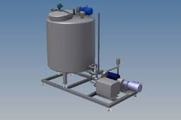 Cream storage tank and pump skid