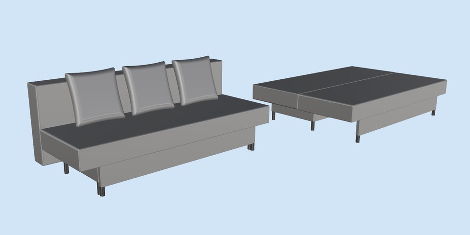 asarum ikea sofabed 3d cad model library grabcad. Black Bedroom Furniture Sets. Home Design Ideas
