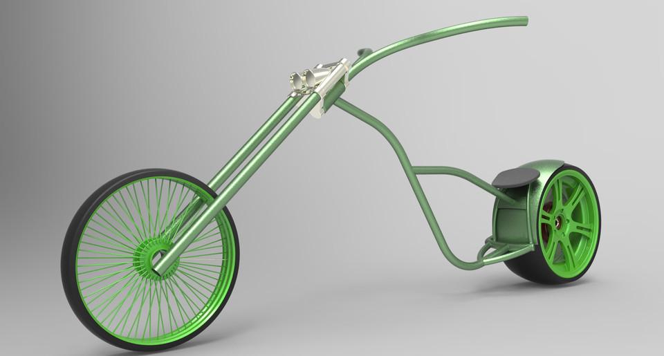Croc-Chopper-Bike Frame Chassis | 3D CAD Model Library | GrabCAD