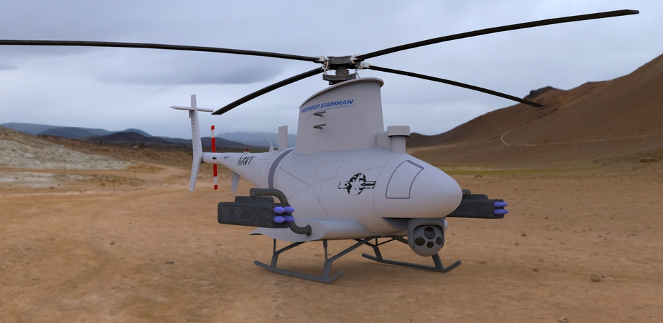 Drone US Navy MQ 8B Firescout UAV Helicopter