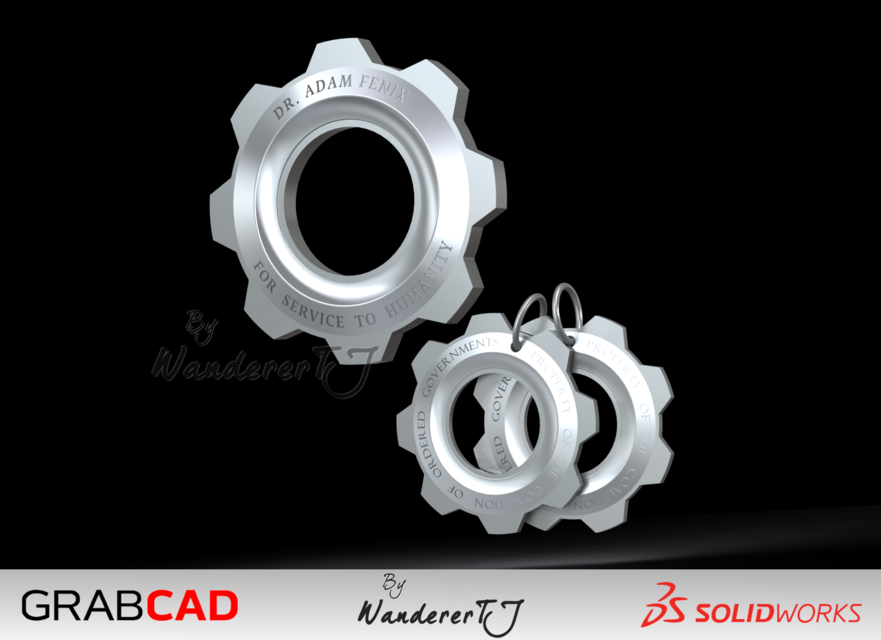 Gears Of War Cog Tags 3d Cad Model Library Grabcad