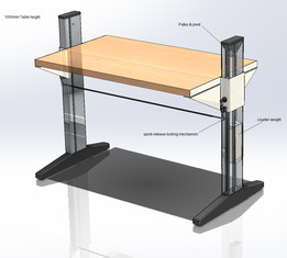 Workbench with counter weight and quick release+locking mechanism
