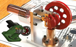Miniature horizontal Stirling motor