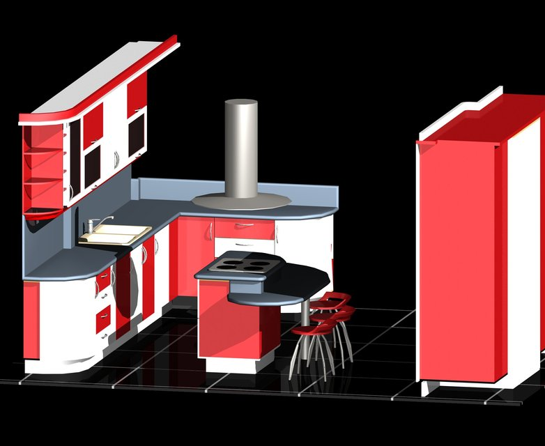 Modular Kitchen-Auto Cad-3D   3D CAD Model Library   GrabCAD