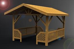 Беседка деревянная 3х3,5м