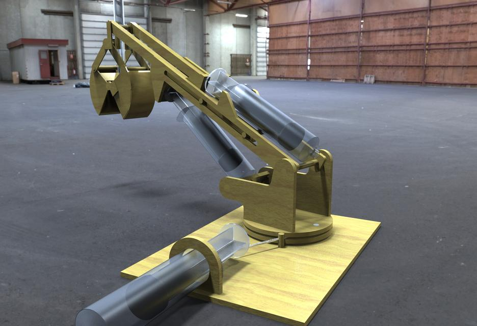 Hydraulic Arm T Bot : Toy hydraulic arm d cad model library grabcad