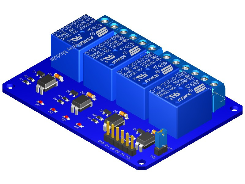 4 Channel Relay Board 3d Cad Model Library Grabcad