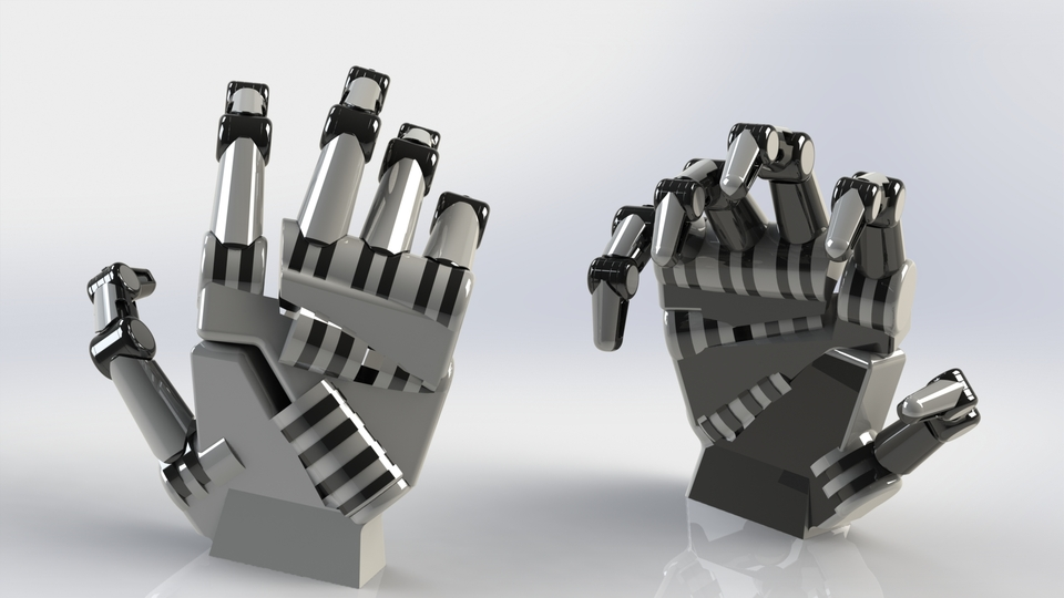 Robotic Hand 3d Cad Model Library Grabcad