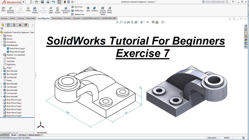 Solidworks Tutorial For Beginners Exercise 7 Solidworks 3d Cad Model Library Grabcad