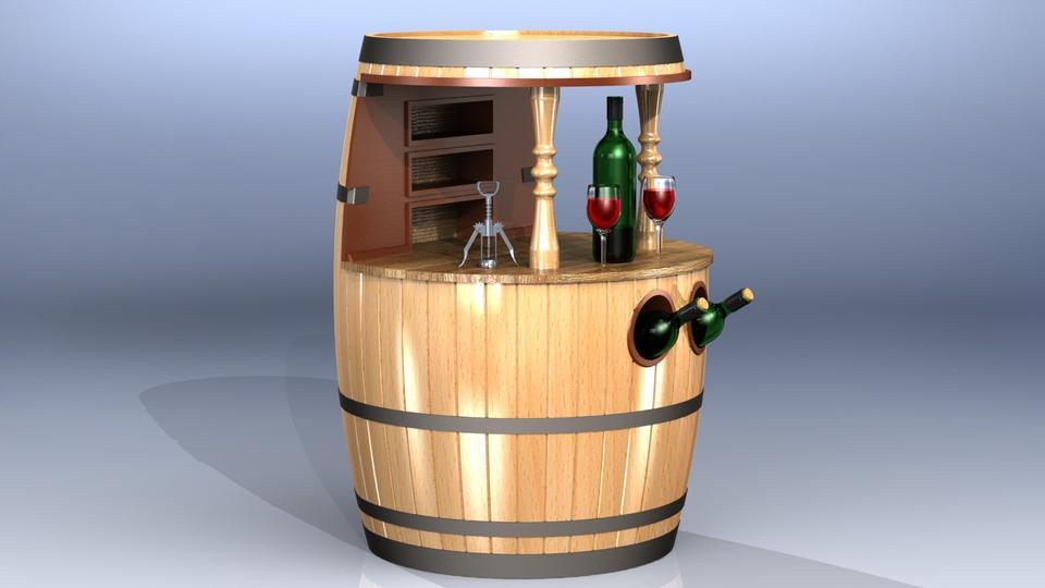 Wine Barrel Cabinet   3D CAD Model Library   GrabCAD