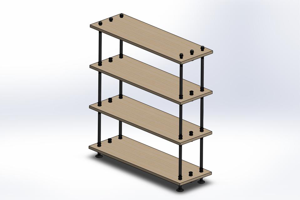 Industrial Pipe Shelf | 3D CAD Model Library | GrabCAD