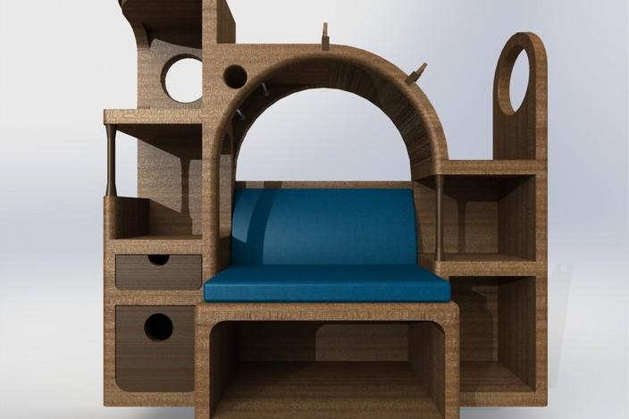 Bookcase Bench Solidworks 3d Cad Model Grabcad