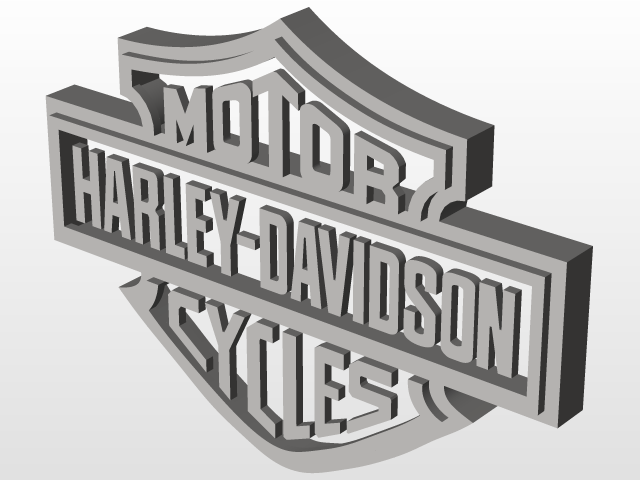 harley davidson logo 3d cad model library grabcad