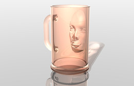 Beer mug with 3D head