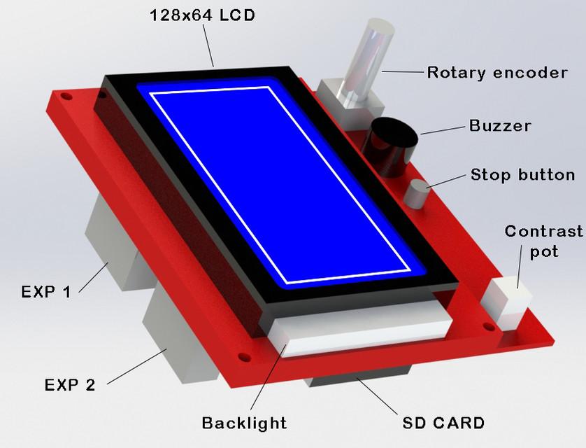 3D printer LCD 128x64 Controller | 3D CAD Model Library
