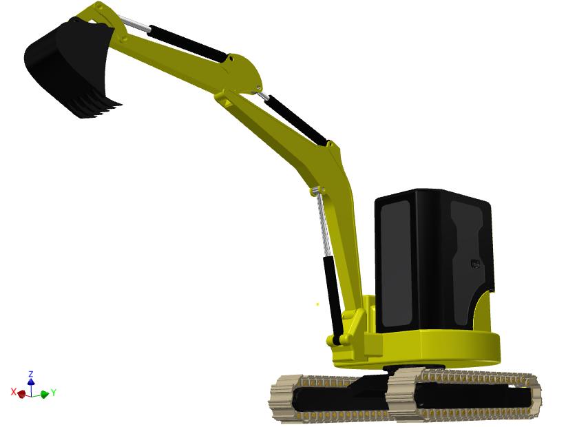 Mini Excavator   3D CAD Model Library   GrabCAD