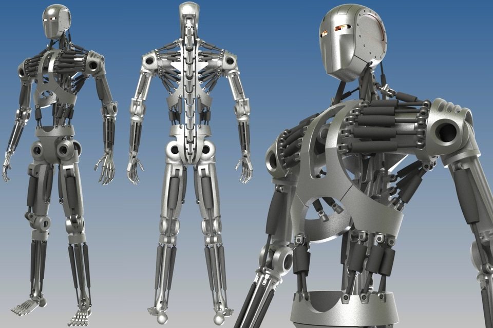Humanoid Robot Skeleton | 3D CAD Model Library | GrabCAD