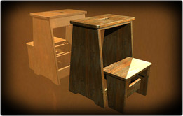 Stool with folding stair there