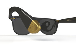 Sunglasses with gold end tips and nose pads