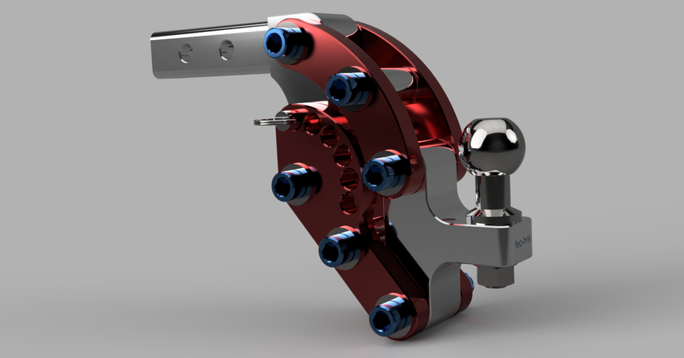 Adjustable Tow Hitch >> Tow Hitch With Adjustable Height 3d Cad Model Library Grabcad