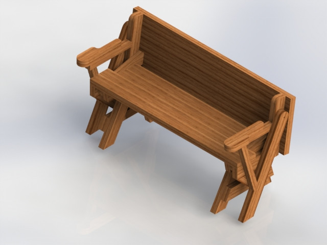 Wondrous Folding Bench Picnic Table Combo 3D Cad Model Library Pdpeps Interior Chair Design Pdpepsorg