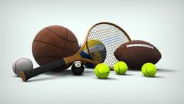 Sports balls and a Wooden Tennis Racquet.