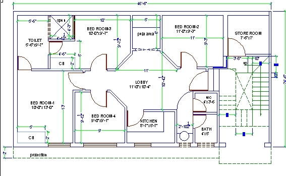 4 Bed Room House Design Autocad 3d Cad Model Grabcad