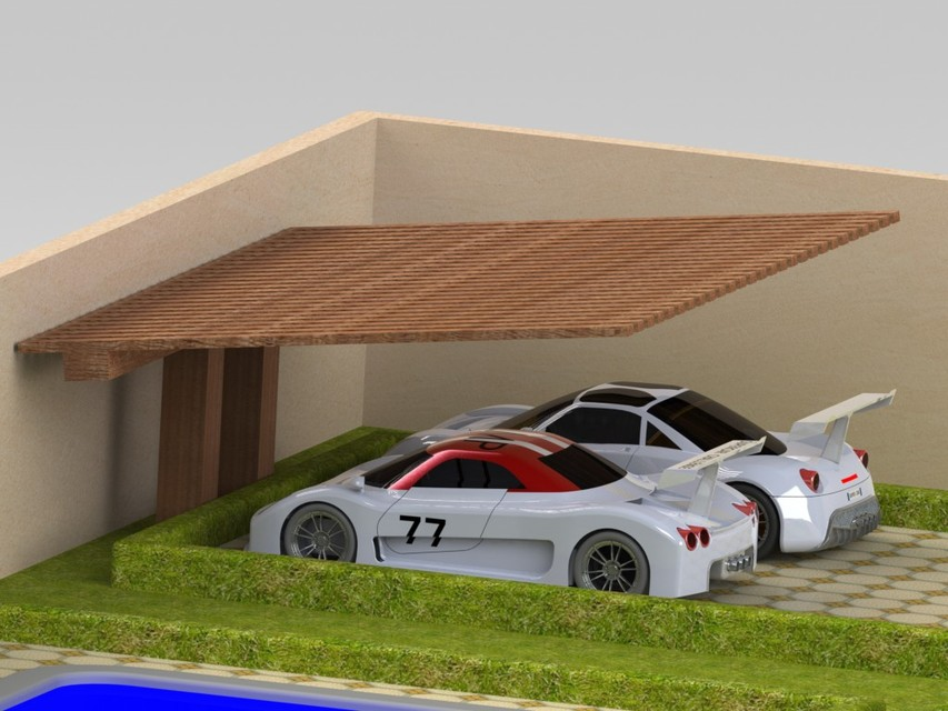 Car Parking Shed 3d Cad Model Library Grabcad