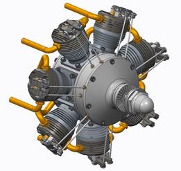 7-cylinder radial engine, 70ccm glow