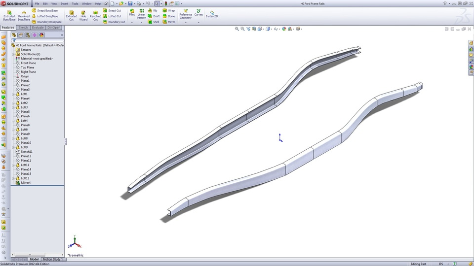 40 Ford Frame Rails | 3D CAD Model Library | GrabCAD